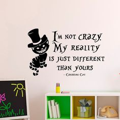 Alice In Wonderland Wall Decal Cheshire Cat Quote by FabWallDecals