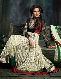 USD 109.52 Black and White Net Raveena Tandon Bollywood Anarkali Salwar Kameez 27675