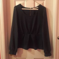 Blu Pepper Green Peplum Top Green Peplum long sleeve top. Boat neck and sheer sleeves. Size medium. In excellent condition! Blu Pepper Tops Blouses