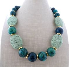 Green chrysocolla necklace big bold necklace chunky