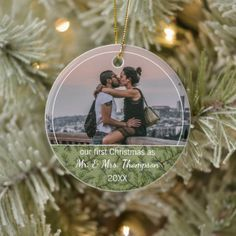 Custom Couple Photo Christmas Personalized Ceramic Ornament Memorial Ornaments, Holiday Ornaments, Holiday Cards, Christmas Cards, Christmas Photos, Christmas Holidays, Christmas Bulbs, Simple Love Quotes, Wife Pics