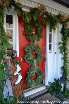 Christmas Porch with Triple Wreaths