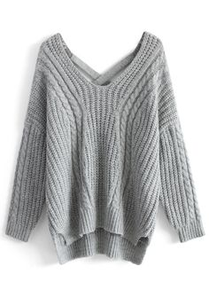Sunny Afternoon V-neck Sweater in Grey - Sweaters - Tops - Retro, Indie and Unique Fashion