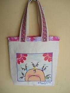 https://flic.kr/p/bo91oX | Tote Bag - Bolsa 0003 - F | Tote bag confeccionada em Lona e forrada com tecido 100% algodão . Pintada .  Medidas: 26x27x5 cm