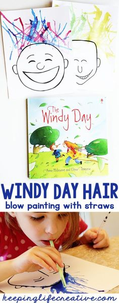 Crazy weather may keep us inside, but is great inspiration for reading about the wind and then creating some windy day hair paintings with straws.