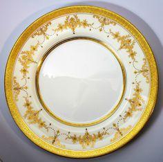 "Minton Riverton c. 1926 Dinner Plate Set: 8 Raised Gold Chargers 10.75"" Diamters"