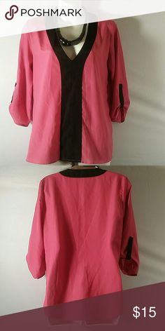 NWOT * Blouse Top * Guess * Beautiful * Pink/Black * 3/4 Sleeve * Polyester * Bundle and Save * Guess Tops Blouses