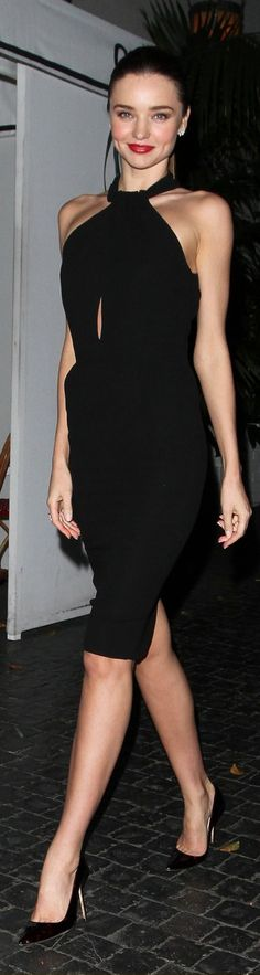 Miranda Kerr knows how to wear the LBD..what beautiful facial features this lady has!