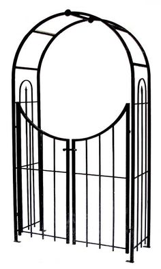 Panacea Arch Topped Garden Arbor with Gate, Brushed Bronze at BestNest.com