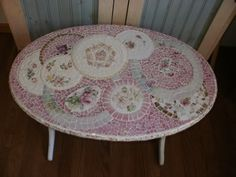 TINY BUBBLES broken china shabby chic pink roses Mosaic oval table duncan phyfe linen fold. $425.00, via Etsy.