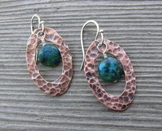 Copper+and+Azurite+Earrings+by+freshbakedjewelry+on+Etsy,+$30.00