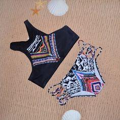 2017 New Sexy Bikinis Women Swimsuit Bohemia High Neck Bikini Set Printed Swimsuit Padded Bra Beach Plus Size Swimwear