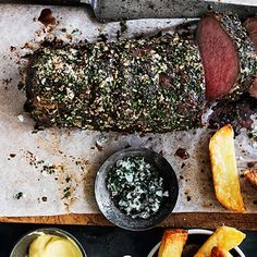 Try this Roasted Eye Fillet of Beef with Tarragon Salt recipe by Chef Donna Hay. This recipe is from the show Donna Hay: Basics To Brilliance. Fillet Steak Recipes, Pork Fillet, Roast Recipes, Christmas Dinner Menu, Dessert For Dinner, Christmas Night, Rib Roast, Roast Beef, How To Cook Beef