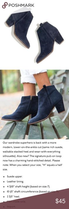 Madewell Billie Boot in Navy Blue Suede pre loved but still in excellent condition with lots of life left! can be cleaned with a suede cleaner (i didn't use one yet). super chic and unique! tts. Madewell Shoes Ankle Boots & Booties