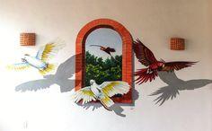 """Mural """"Aves""""   Hotel Villas El Encanto  Acrílico sobre pared"""