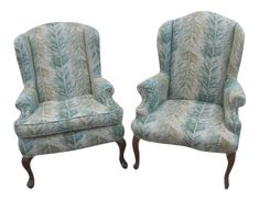 Wingback Chair, Armchair, Palm Fronds, Vintage Decor, Seat Cushions, Accent Chairs, Pairs, Throw Pillows, Furniture