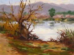 """Daily Paintworks - """"Cold Pond"""" - Original Fine Art for Sale - © Karen Werner"""