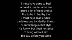 ABBA - the day before you came lyrics