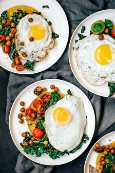 Huevos Rancheros with Charred Kale, Tomatoes, and Crispy Garlic Chickpeas