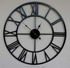 Large Black And Silver Metal Wall Clock Home Decor Pinterest