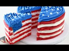 American Flag INSIDE a Cake for 4th of July! - The Icing Artist