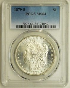 1879 S Certified Morgan Silver Dollar Coin Graded MS64 by PCGS, Gift for Dad, Birthday, Graduation, Collect, Invest, Uncirculated, Slabbed by RareCoinsTreasures on Etsy