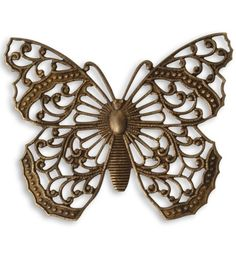 NEW Vintaj Antiqued Brass Large Filigree Butterfly or Moth Pendant Connector Vintage Style Brass Ox Insect Bug Nature 46 x 38mm Qty 1