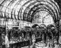 Who: Jeanette Barnes What: Canary Wharf station. Why: i like the light and dark contrast Drawing Techniques, Drawing Tutorials, Drawing Tips, Drawing Ideas, Compressed Charcoal, Easy Drawings, Pencil Drawings, A Level Art, Sense Of Place