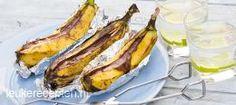 Banaan van de BBQ NAGERECHT – 20 MINUTEN – 4 STUKS *  Lekker en makkelijk toetje van de barbecue; banaan met gesmolten chocolade
