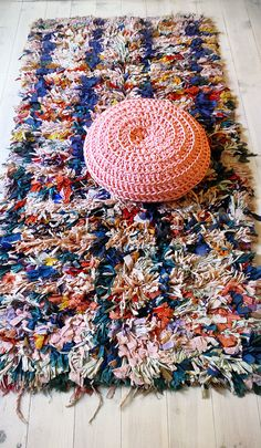 "Vintage Moroccan Rag Rug - BOUCHEROUITE ""color mix"""