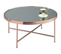 Fino d aspect Effet miroir table basse ronde en verre, EN MÉTAL, baaec9c192fd