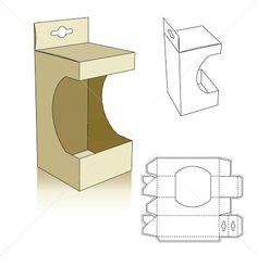Window style carton box template with shelf hanger