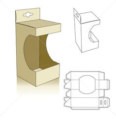 Window style carton box template with shelf hanger