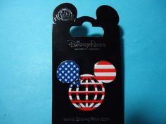 #disney Disney Parks Retro Logo Patriotic WDW Logo Mickey Icon Flag Pin AUTHENTIC *NEW* please retweet