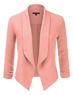 JJ Perfection Womens Textured OpenFront Collar Blazer With Ruched Elbow Sleeve PEACH M * Learn more by visiting the image link.(This is an Amazon affiliate link)