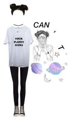 """space buns // what are we"" by writing-outfits ❤ liked on Polyvore featuring Lee and Converse"