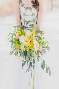 Sweet Blossoms Kirsten Smith Photography, yellow and white cascading bridal bouquet