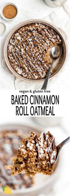 Healthy Baked Cinnamon Roll Oatmeal Lucita N. LucitaNi Breakfast This healthy baked cinnamon roll oatmeal is the perfect gluten free … Quick Vegetarian Dinner, Breakfast Smoothie Recipes, Gluten Free Recipes For Breakfast, Healthy Breakfast Smoothies, Free Breakfast, Vegetarian Breakfast, Breakfast Ideas, Healthy Snacks, The Oatmeal