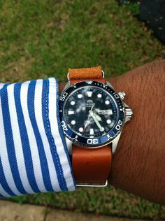 Orient Ray - Looks great on a leather nato. Brown makes it pop.