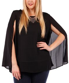Black Chiffon Attached-Necklace Cape-Sleeve Top - Plus #zulily #zulilyfinds
