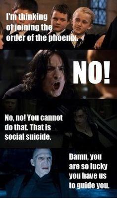 "Harry Potter/Mean Girls. ""Social suicide."""
