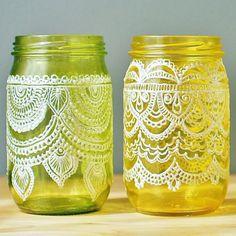 Festive Spring Mason Jars Handpainted Moroccan by LITdecor on Etsy