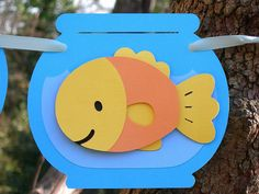 Happy Goldfish Paper Baby Banner MADE TO ORDER via Etsy