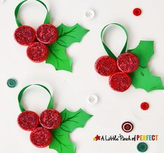 Milk Cap Holly Ornaments: An easy and inexpensive Christmas kids craft to decorate the tree with Christmas Tree Decorations For Kids, Recycled Christmas Tree, Kids Christmas Ornaments, Christmas Crafts For Kids, Holiday Crafts, Christmas Diy, Kid Crafts, Wine Cork Crafts, Diy Weihnachten