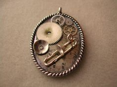 Steampunk Musical necklace trombone piano by TimeMachineJewelry, $30.00