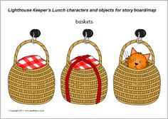 A set of printable cut-out characters and objects for use when retelling the story of The Lighthouse Keeper's Lunch by Ronda and David Armitage. Ideal for laminating and using on story boards or story mats to encourage oral retelling of the story. Teaching Displays, Classroom Displays, Classroom Ideas, Lighthouse Keepers Lunch, Teaching Schools, Teaching Ideas, Ocean Themes, Seaside, Literacy