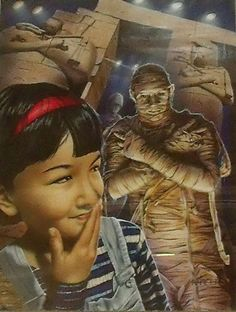 """MIKE HARPER (LISTED) """"TUCK ME IN, MUMMY"""" SPINE CHILLERS BOOK COVER ILLUSTRATION"""