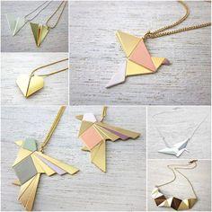 Origami, my love – bijoux Origami Jewelry, Diy Jewelry, Jewelery, Jewelry Accessories, Handmade Jewelry, Jewelry Design, Jewelry Making, Leather Necklace, Diy Necklace