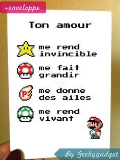 Carte amour geek inspirée de l'univers Mario Bros-Nintendo #levelup #geek cadeau original