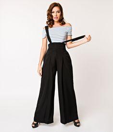 4371394237e Unique Vintage Black High Waist Wide Leg Rochelle Suspender Pants  Suspenders Fashion